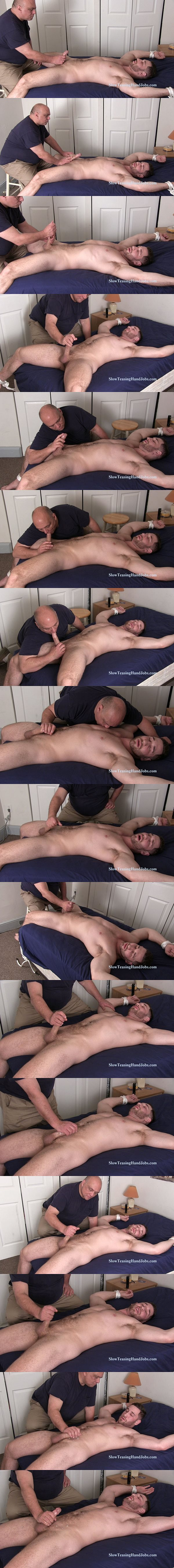 Masculine straight hunk Anthony tied to the bed and slowly edged at Slowteasinghandjobs 02
