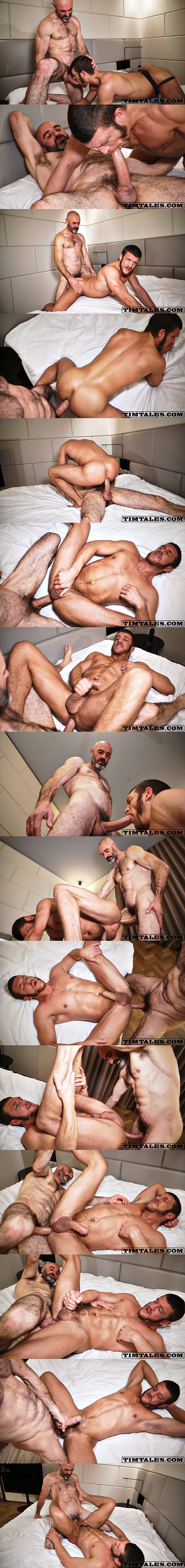 Hairy macho daddy Jay Red barebacks ginger stud Caleb King at Timtales 02