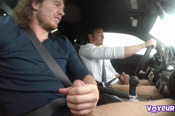 Hot straight jock Jaden Storm and Jay Bunny wanks off on the road trip at Voyeurboys