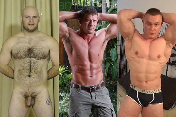 Hot straight muscle hunks Blake, Samuel Starr and Jan Bavor jerk off