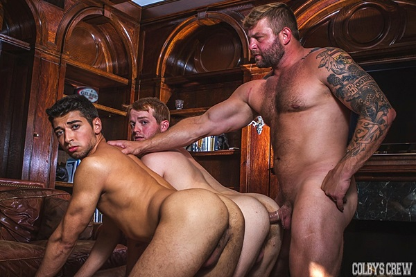 Hot hairy daddy Colby Jansen fucks cute twinks Brett Dylan and Drew Hill at Colbyscrew