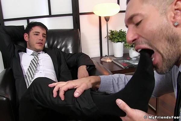Handsome straight boss Rego dominates Alex Garrett with his feet at Myfriendsfeet