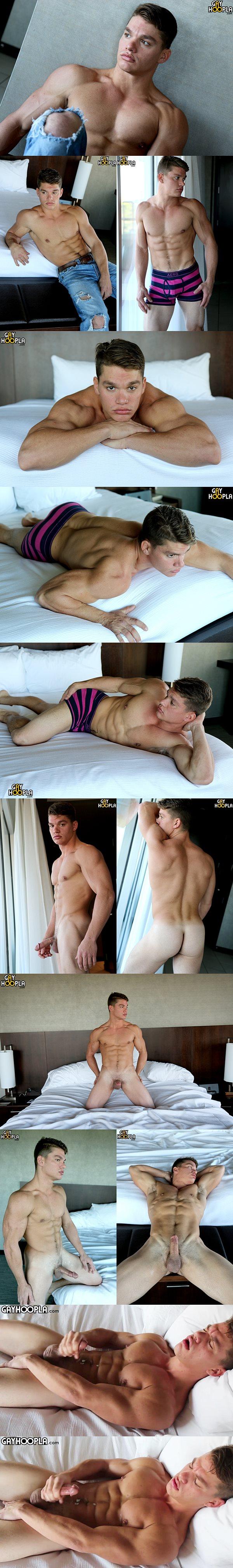 Hot personal trainer Paul Tiller wanks off at Gayhoopla