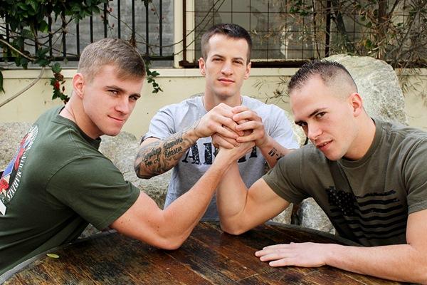 Military jock Quentin Gainz and Richard Buldger bareback Ryan Jordan at Activeduty