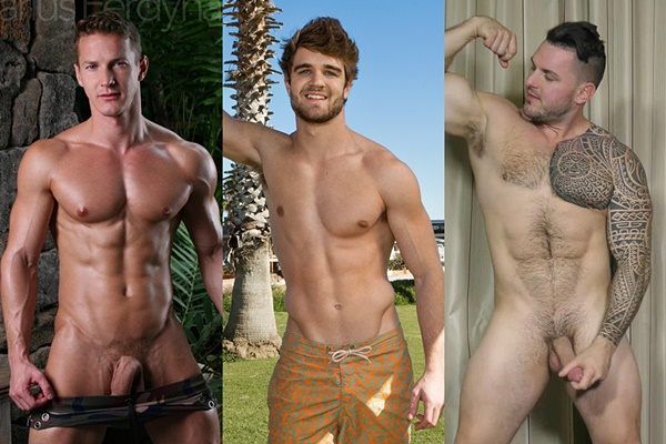 Handsome Darius Ferdynand, scruffy ripped jock Lawrence and sexy hairy muscle bear Ronnie J blow their hot loads