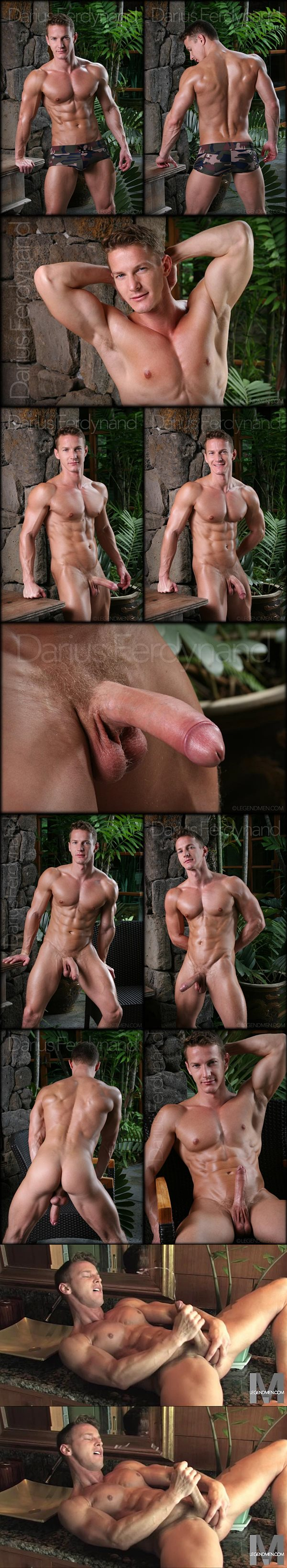 Handsome muscle jock Darius Ferdynand has an intense orgasm at Legendmen