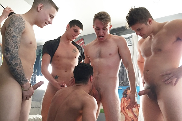 Miles Taylor, Tyler White, Liam, Tucker and Charlie Patterson gangbang creampie Ian Greene in Fresh College Meat at Fraternityx