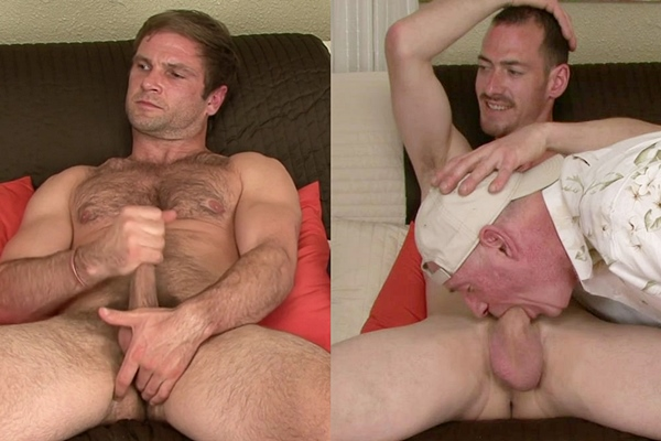 Hot straight macho daddy Ken and Trace blow their hot loads at Like-em-straight