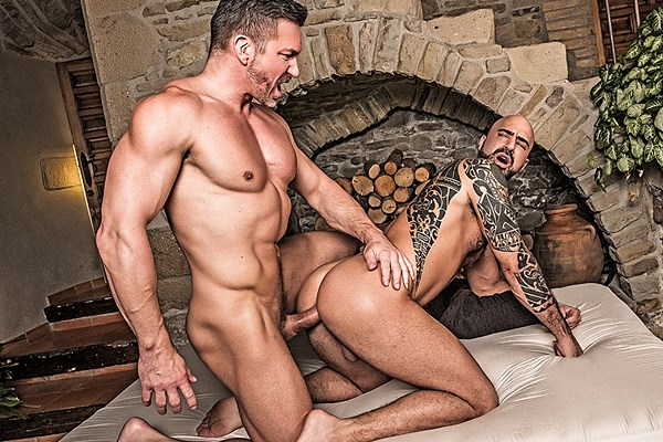 Tomas Brand barebacks tattoo muscle daddy Angelo Di Luca in Bareback Boyfriends & Bros at Lucasentertainment