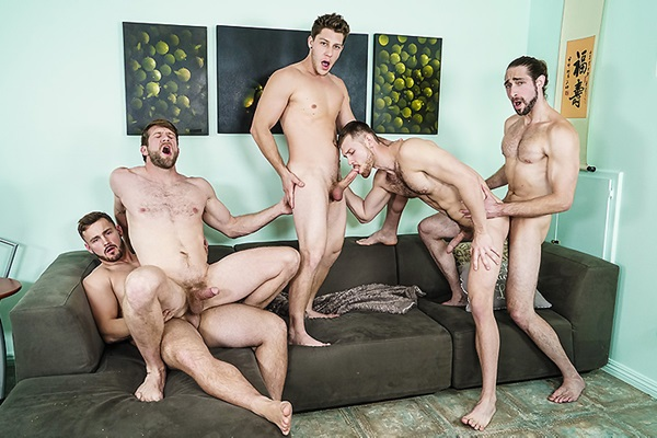A Sneak Peek of Trevor Long and Roman Cage Fucking Colby Keller, Jacob Peterson and Paul Canon at Jizzorgy