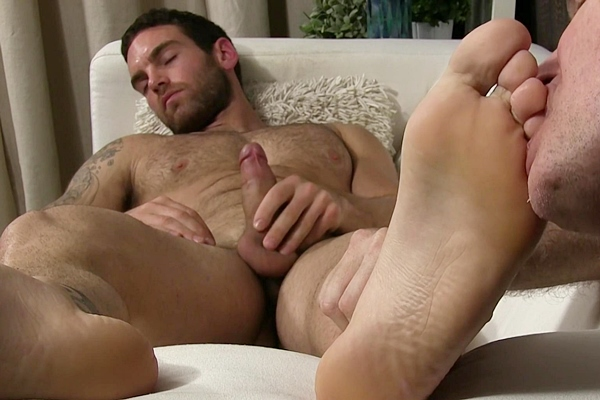 Rugged handsome straight stud Chase Lachance cums while being foot worshiped at Myfriendsfeet