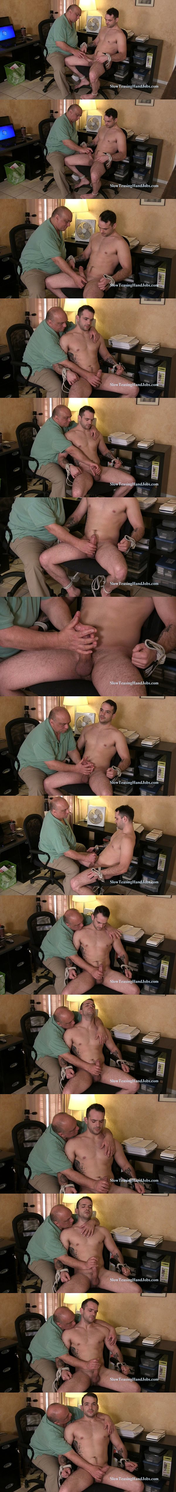 Hot straight muscle jock James slowly jerked off in the office at Slowteasinghandjobs 02