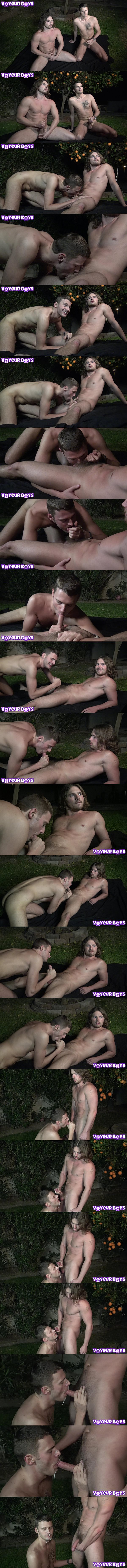 Hot straight jock Dave Slick sucks off Jay Bunny outside at Voyeurboys 01