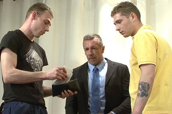 Master Kyle and Master Aaron humiliate and piss on a daddy sub in Session 362 at Brutaltops
