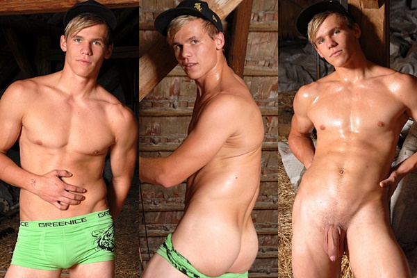 Stunning blond straight muscle jock Brody jerks off at Eastboys