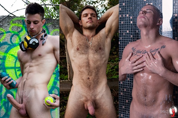 Hot naked muscle jocks Vasya, Leon and Andrew at Erectmodel