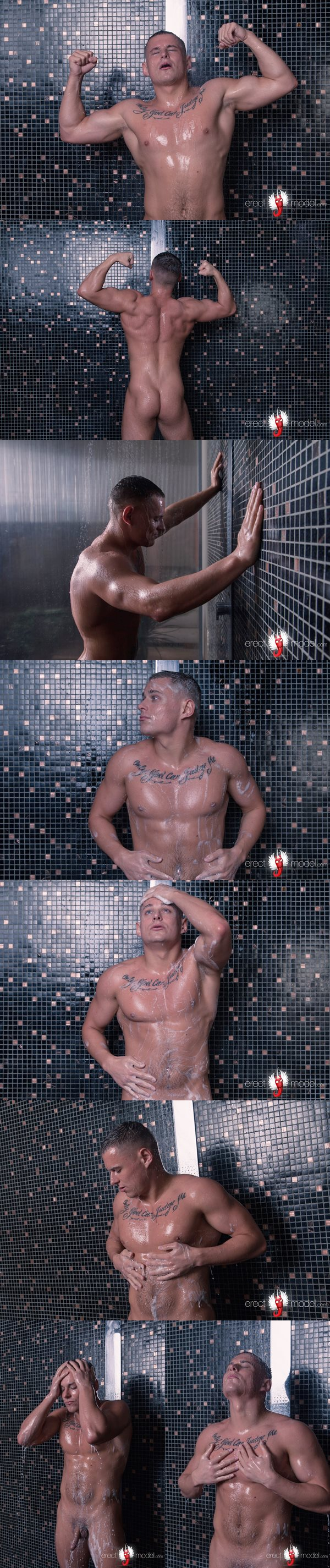 Hot muscle jock Andrew in Tattooed naked guy in shower at Erectmodel