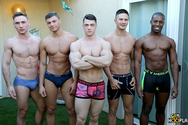Hot orgy of Collin Simpson, Tyler Smith, Alex Griffen, Forrest Marks and Zach Douglas at Gayhoopla