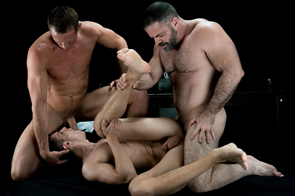 Bishop Angus and Brother Hales bareback and creampie Elder Nicola in Atonement at Mormonboyz