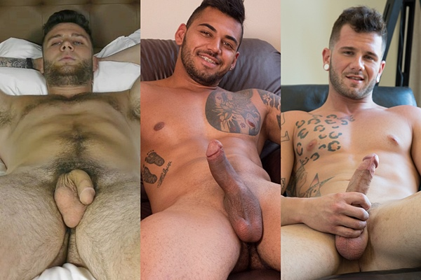 Hot muscle hunk Bruce, Murillo and Johnny Hill jerk off