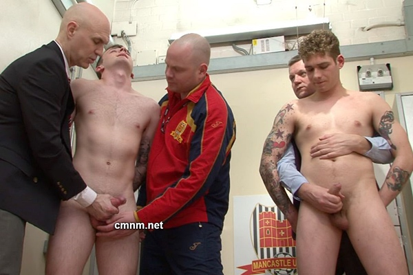 Hot straight football jocks Freddie and Max get ass fingered and jerked off at Cmnm