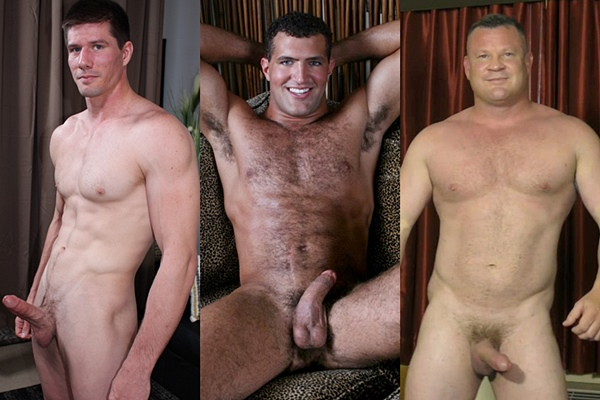 Hot muscle studs Jake Bane, Michael Prima and Tim jerk off
