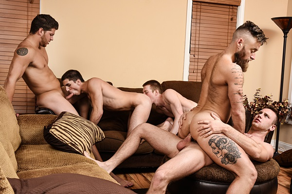 Ashton McKay fucks Brandon Evans, Damien Kyle, Hoytt Walker, Kyle at My Cousin Ashton Part 3 in Jizzorgy