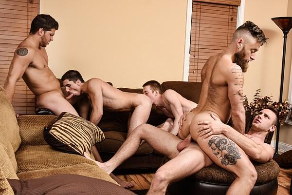 Ashton McKay fucks Brandon Evans, Damien Kyle, Hoytt Walker, Kyle at My Cousin Ashton Part 3 in Jizzorgy