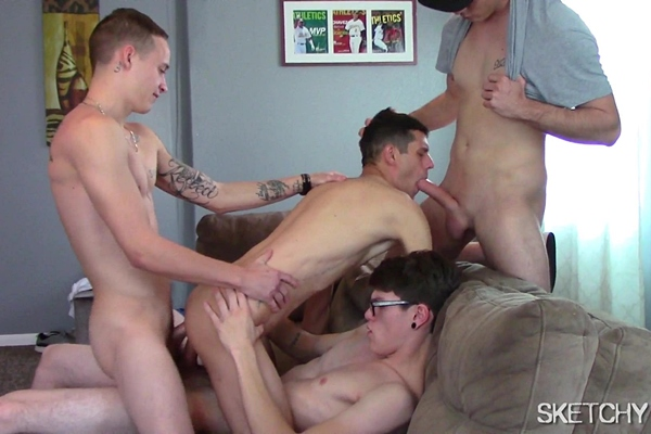John Finch, Tristan Sweet and Austin Floyd gangbang creampie Billy Bottom in Double Dicking at Sketchysex