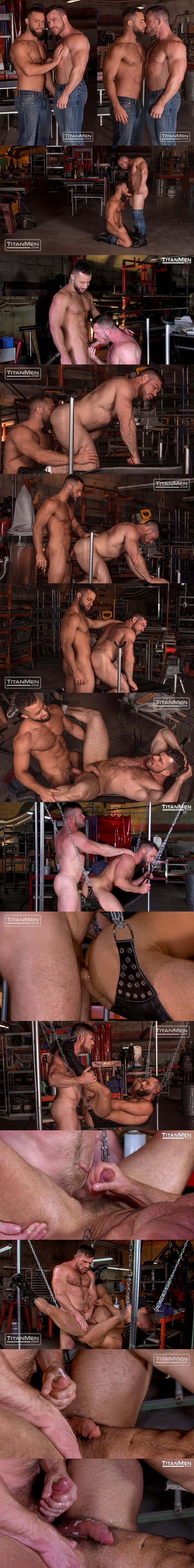 Muscle hunk Liam Knox flip-fucks Eddy CeeTee in the sling factory at Titanmen 02