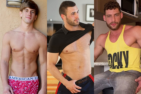 Hot ripped studs Chad Norman, Gerasim Spartak and Tiago jerk off
