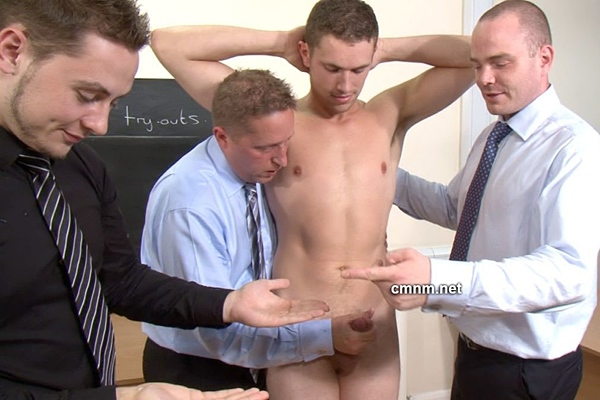 Sporty straight college dude Daniel gets manhandled, dildo fucked and jerked off at Cmnm