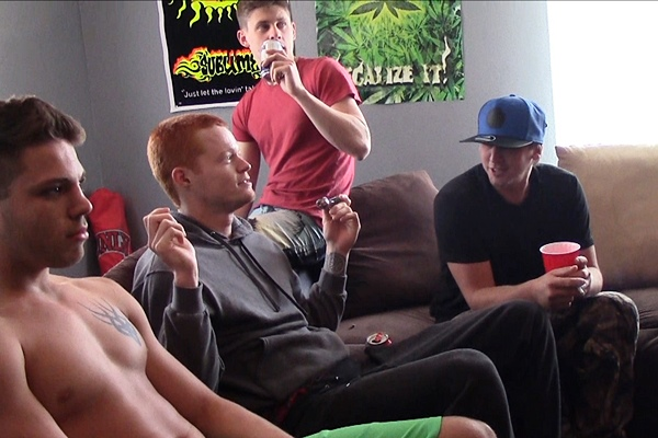 Micky, AJ, James, Mickey gangbang creampie Riley in Who Is Gettin Ass Fucked at Fraternityx