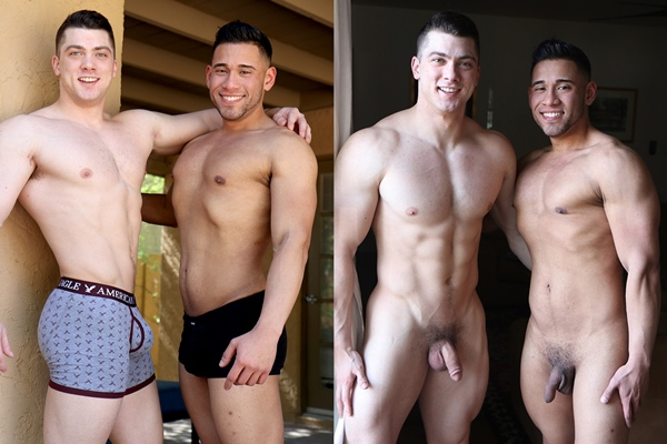 Hot ripped latin jock Michael Santos fucks the cum out of Collin Simpson at Gayhoopla