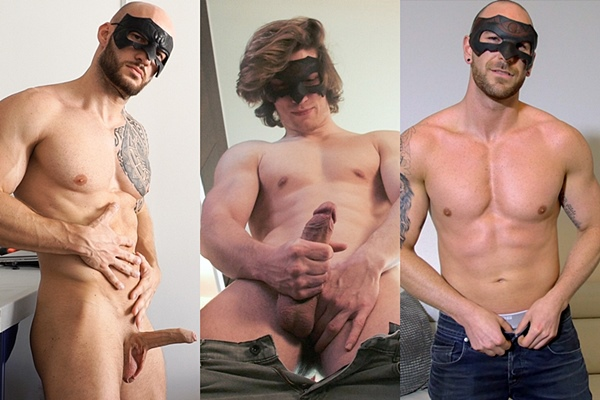 Hot masked studs David Boss, Jake and Shawn Hardy jerk off at at Maskurbate