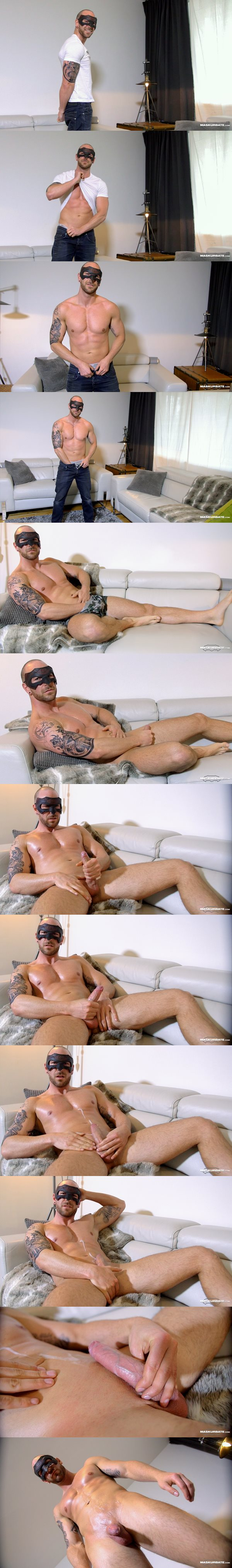Bisexual inked stud Shawn Hardy shoots a creamy load at Maskurbate
