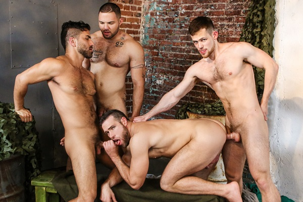Adam Ramzi and Kurtis Wolfe fuck Alex Mecum and Julian Knowles in Dangerous Days Part 3 at Jizzorgy