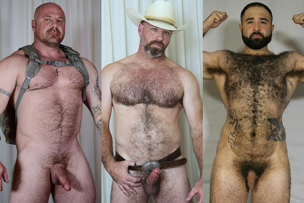 Hot muscle bears Markus, Archer and Tank jerk off at Theguysite