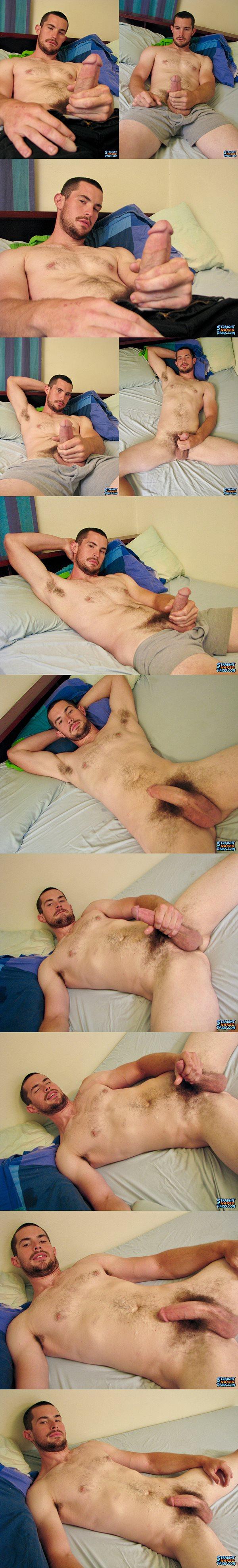 Rugged handsome straight muscle jock Hunter at Straightnakedthugs
