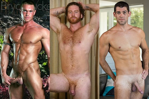 Hot straight muscle hunk Bryce Tucker, Stryker and Trevor Bigg jerk off