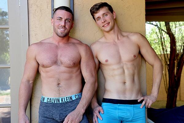Hot muscle jock Adrian Monroe and Derek Jones flip fuck at Gayhoopla