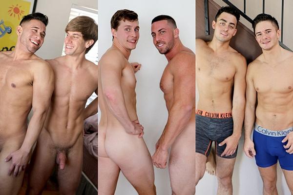 New scenes starring Nick Harper, Zach Douglas, Derek Jones, Adrian Monroe, Dorian James, Chad Norman, Michael Santos at Gayhoopla