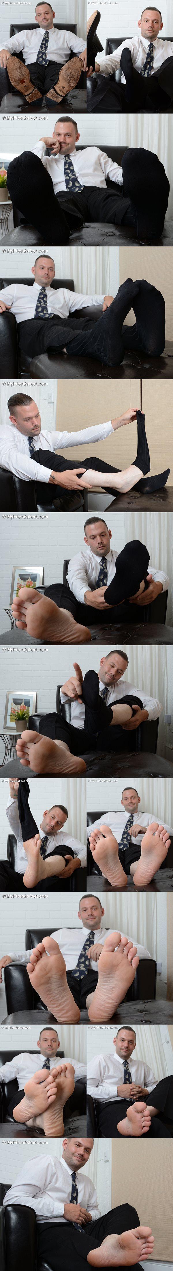 Jacky's dress socks and bare feet at Myfriendsfeet