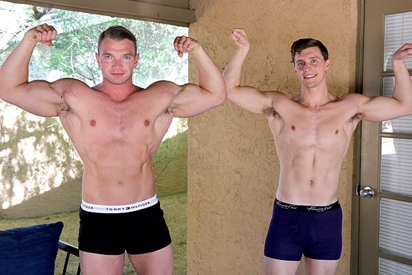 Bodybuilder Dorian James fucks Adrian Monroe at Gayhoopla