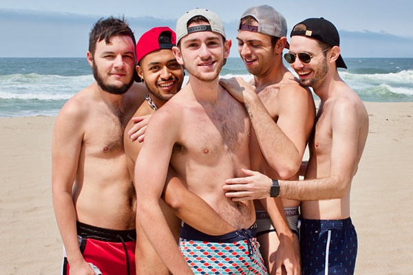 Outdoors raw orgy of Dieter Red, Hyden O'Toole, Brayden Wolf, Lance Bennett and Topher Michels in Back 2 Bareback Beach at Guybone