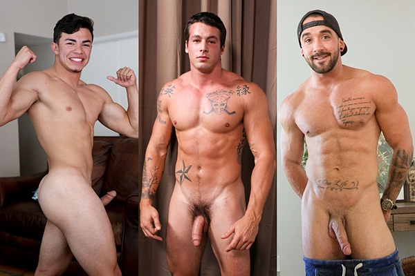 Hot straight guys Julian Rodriguez, Ty and Zack jerk off
