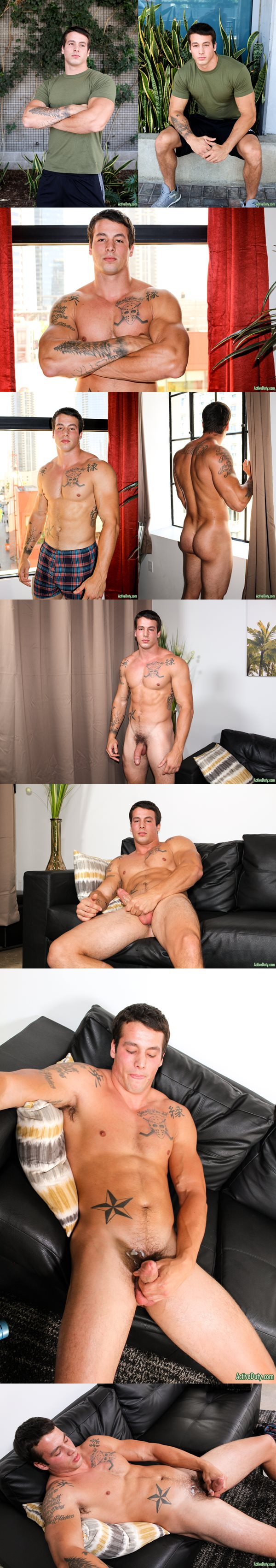 Handsome tattooed military jock Ty jerks off at Activeduty