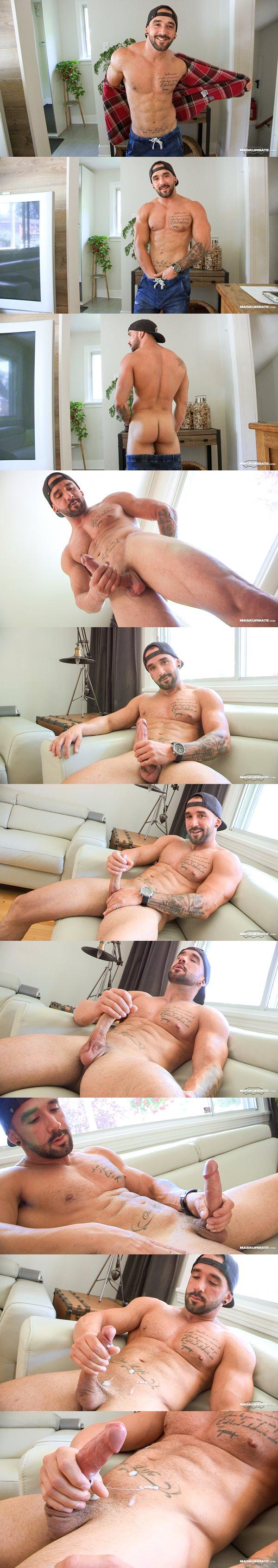 Rugged bearded straight jock Zack jerks off at Maskurbate