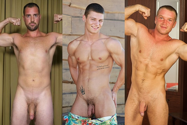 Hot straight guys Leonidas, Aiden Quinn and Oto Hared wank off