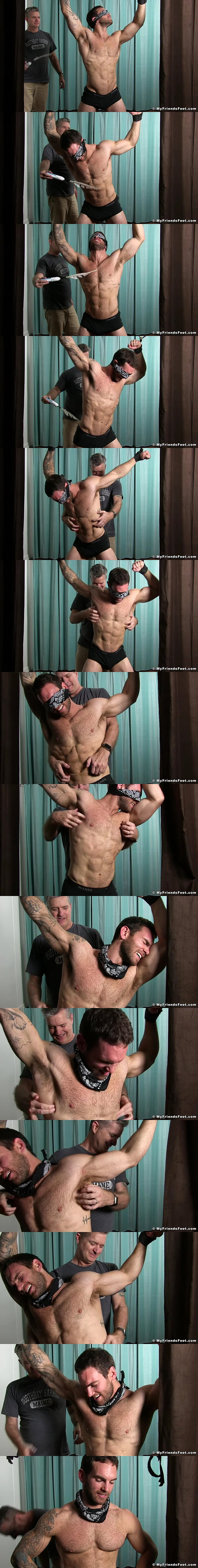 Chase Lachance tickled standing up at Myfriendsfeet